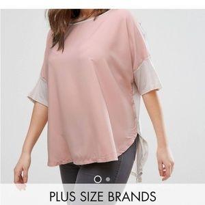 Junaross Color Block Short Sleeve High Low Shirt